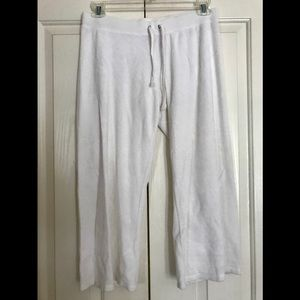 Juicy Couture White Crushed Terrycloth Joggers